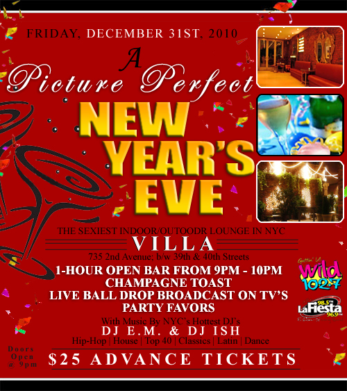 Villa Lounge Nyc New Years Eve Party Nyc New Years Eve